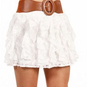 White Belted Lace Ruffle Skirt