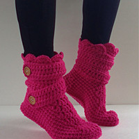 Women's Crochet Neon Pink Slipper Boots, Crochet Slippers, Crochet Booties, Knit House Shoes, Crochet Ankle Boots, Hot Pink Slipper Boots