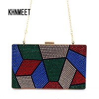 Multi color Purse Crystal mini wedding party clutch evening bag handbag Wristlets women's shoulder bag with Chain Clutch Bag 817