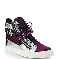 Giuseppe Zanotti - Metallic Leather & Satin Chain High-Top Sneakers - Saks Fifth Avenue Mobile