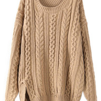 ROMWE Split Hem Cable Knit Long-sleeves Khaki Jumper