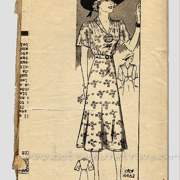 1930s Day Dress Sewing Pattern Vintage Anne Adams 4462 Bust 34