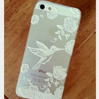 White Henna Bird Print See Through Clear iPhone 5 5S Hipster Phone Case