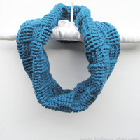 Basket Weave Crochet Infinity Cowl Scarf in Deep Teal, ready to ship.
