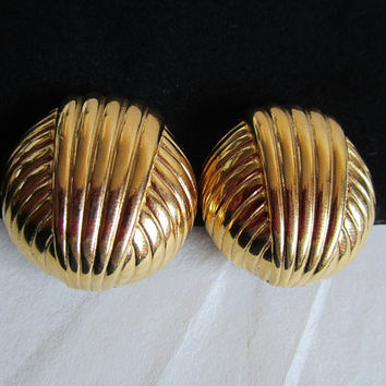Vintage Givenchy 1980s Clip on Earrings Gold Tone Art Deco Textured 80s Round Designer Earrings
