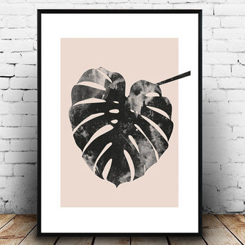 Monstera print, Pink and grey, watercolor print, scandinavian design, minimalist art, home decor, interior wall art, modern art, paintbrush