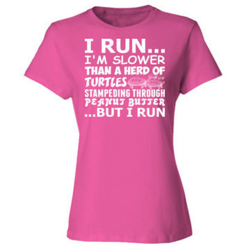 I run i am slower than a hard of turtles from for Peanut butter t shirt dress