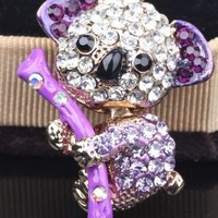 CJB Dust Plug / Earphone Jack Accessory Purple Koala for iPhone 4 4s S4 5 All Device with 3.5mm Jack (US Seller)