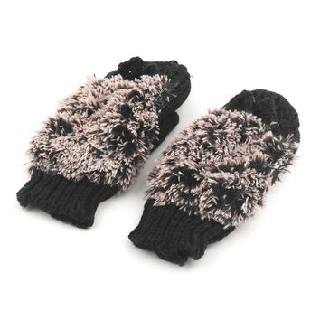New Girls Fashion Novelty Winter Warm Outdoor Indoor Full Finger Double Layer Gloves Woman Cartoon Hedgehog Plush Mittens