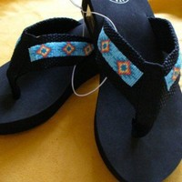 Native American inspired beaded flip flops | beadlady61 - Clothing on ArtFire