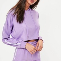 Missguided - Lilac Hoodie and Shorts Pajamas Set