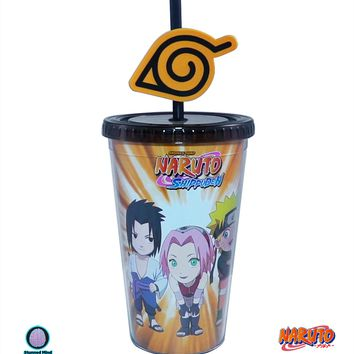16oz OFFICIAL Naruto and Friends PREMIUM Tumbler Travel Cup with Konoha Straw (BPA-Free)