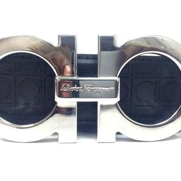 Salvatore Ferragamo Belt | Size 34 or 85 cm | Black Leather | Silver Buckle | SQ