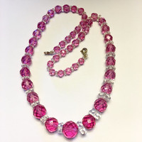 Art Deco Crystal Necklace Raspberry Pink and Clear Beads