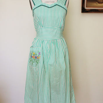 Vintage 1950s Striped Pinafore Dress With Pocket and Bow