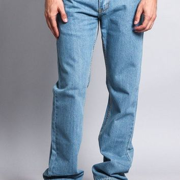Men's Straight Fit Washed Denim Jeans DL105 (Washed Light Indigo)