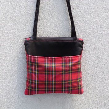 Post-Christmas Sale Small Red Plaid Tartan Shoulder Bag | zipper closure | tartan purse with outer & inner pockets | red and black eco fashi