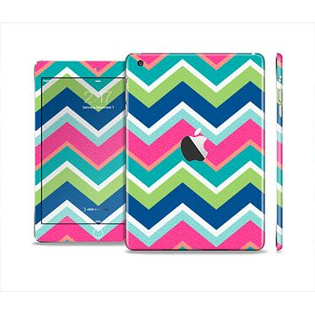The Vibrant Teal & Colored Layered Chevron V3 Skin Set for the Apple iPad Mini 4