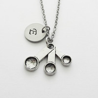 Measuring Spoons Necklace, Cooking Charm, Baking Jewelry, Gift For Chef, Silver Jewelry, Personalized, Monogram, Hand Stamped Letter Initial