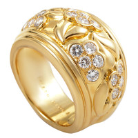 Dior Diamond Gold Floral Band Ring