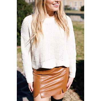 Blue Moon Faux Leather Mini Skirt, Camel