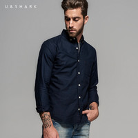 Fashion Navy Blue Button Down Collar Oxford Cotton Shirt Men Blouse Clothes Long Sleeve Designer Casual Shirt Male