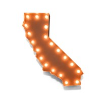 California Vintage Marquee Lights Sign (Rustic)
