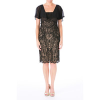 Sue Wong Womens Embroidered Detail Flutter Sleeves Cocktail Dress