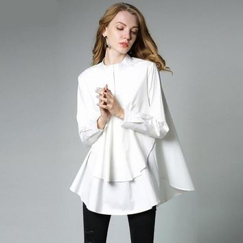 Women's Casual Solid 100% Cotton Long Sleeve Elegant Blouse