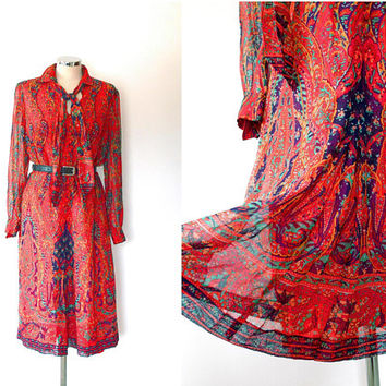 Red paisley chiffon dress / purple / orange / green / vintage / 1970s / boho / summer / lined / tie collar / semi-sheer / button shirt dress