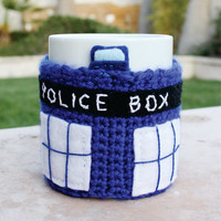 TARDIS Police Box Time Machine Spacecraft Inspired Coffee Mug Tea Cup Cozy: Doctor Who /  Dr. Who -ish Crochet Knit Sleeve