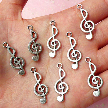 Music Note / Treble Clef / G-clef Charms (8pcs) (10mm x 26mm / Tibetan Silver / 2 Sided) Kawaii Pendant Bracelet Earrings Keychains CHM311