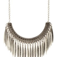 Silver Metal Fringe Statement Necklace by Charlotte Russe