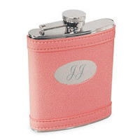 Pink Leather Flask, Engraved Pink Hip Flask, Bachelorette Party Favors