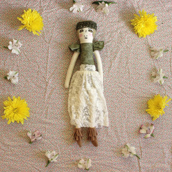 "Rag Doll Girl with Lace Skirt and Felt Moccasin Boots - Boho Fabric Doll with Embroidery 19.5""ish by Liberty Lavender Dolls"