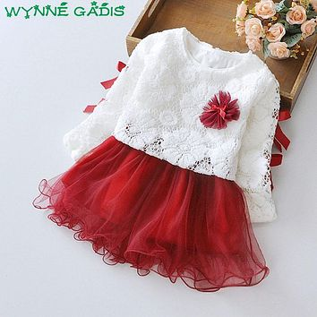 Spring Baby Girls Long Sleeve Bow Lace Flower Patchwork Mesh Tutu Princess Party Dress Kids Two Pieces Dresses vestido infantil