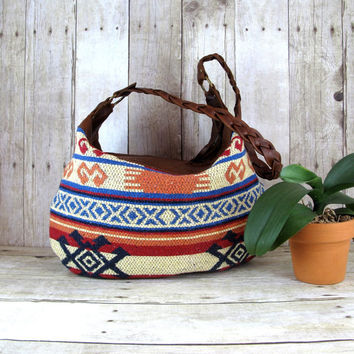 Kilim Bag, Brown Leather Hobo, Aztec Purse, Navajo Rug Bag