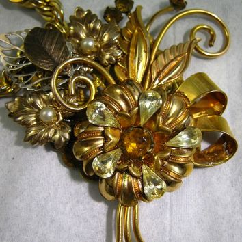 OOAK,  Amber Garden : Upcycled  Vintage Collage Assemblage Pendant  Necklace