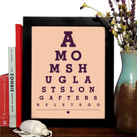 A Moms Hug Lasts Long After She Lets Go, Eye Chart, 8 x 10 Giclee Art Print, Buy 3 Get 1 Free