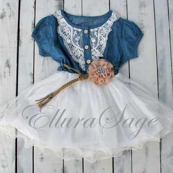 Flower Girl Dress, Denim Flower Girl Dress, cowgirl tutu dress,  Rustic Flower Girl Dress, western baby dress, Cowgirl Birthday Baby Dress