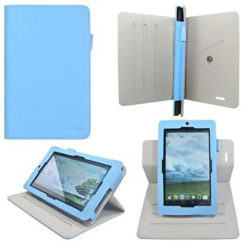 i-design Asus MeMO Pad 7 ME172V / ME176C 7 inch Tablet Slim Folio Book Shell Case With Rotary Dualscape Stand, Stylus Loop (Asus MeMO Pad 7, Blue)