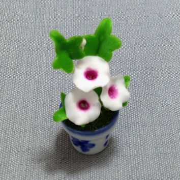 Flower Plant Morning Glory White Miniature Clay Polymer Fimo Garden Flowers Hand Made Supplies Cute Small Ceramic Pot Dollhouse Decor 1/12
