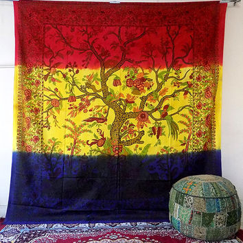 BIG Tie Dye Tree of Life Tapestry, hippie bohemian wall hanging tapestries, indian bedspread bedding throw, ethnic home decor