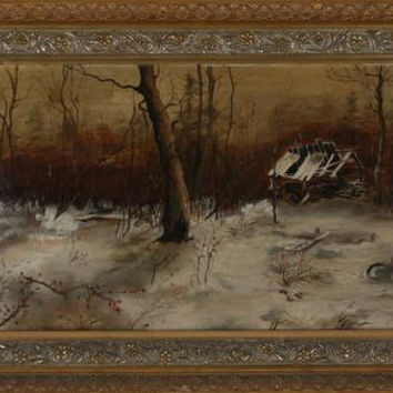 Antique Circa 1880 Brown County, Indiana Oil Painting. Brown County School. Winter Scene.