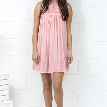 Mineral Washed + Lace Trimmed Tank Shift Dress {Rose}
