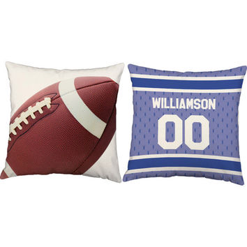 Set of 2 Personalized Football Pillows - Custom Name Football Pillow Covers and or Cushion Inserts -Custom Football Print, Father's Day, Dad