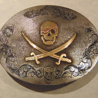 Pirate Belt Buckle, Pirate Jewelry, Jolly Roger Buckle, Skull and Crossbones, Custom Pirate Buckle, Pirate Reenactment, Gasparilla Buckle
