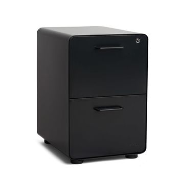 Black Stow 2-Drawer File Cabinet| Modern Office Furniture | Poppin