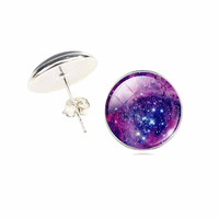 Galaxy Star Universe Glass Cabochon Silver Stud Earrings ,New Fashion Jewelry Earrings For Women Creative Gifts