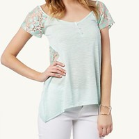 Lace Striped Deep V Top